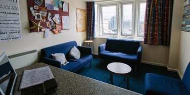 Living area in student halls - joseph stones house
